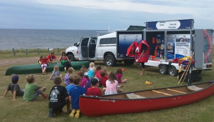 Boating safety demonstration for kids in PEI