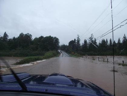 Flooded roads around Truro