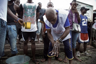 Demonstrating hand-washing in Sierra Leone