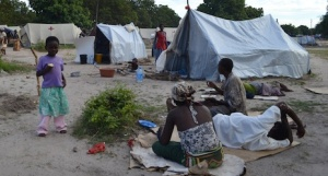 Pictured above, families are still living in one of the camps that was set up after the Mozambique floods in January.