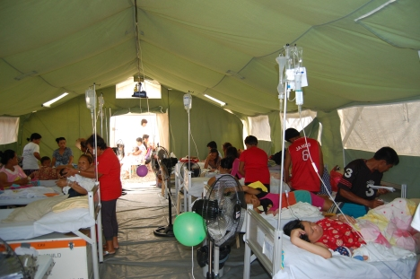 Patients quickly filled the hospital wards in Ormoc.