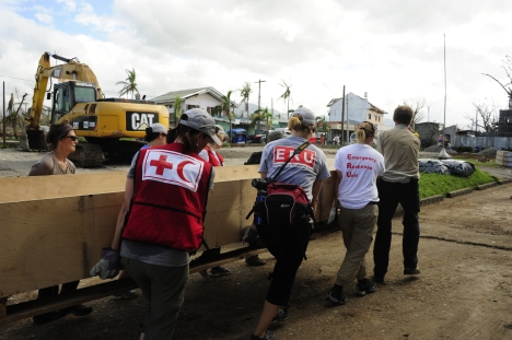 ERU team members got to work to set up the field hospital when they first arrived in Ormoc